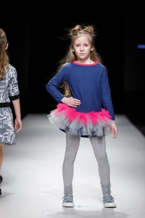 Denim jersey tutu tunic-dress for kid, girl, toddler, baby
