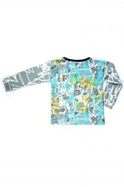 Unisex, creative, edgy blue expressions long sleeve top for kids, toddlers, boys and girls