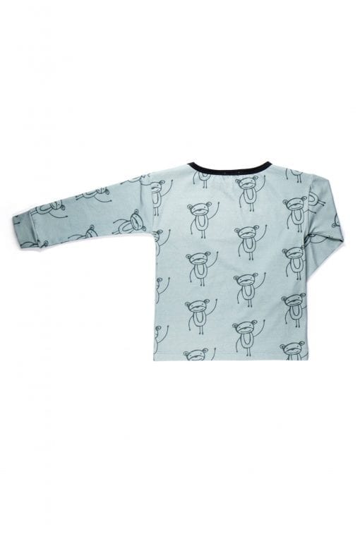 Unisex happy monkeys long sleeve shirt with pocket for kids, toddlers, boy, girl, baby.