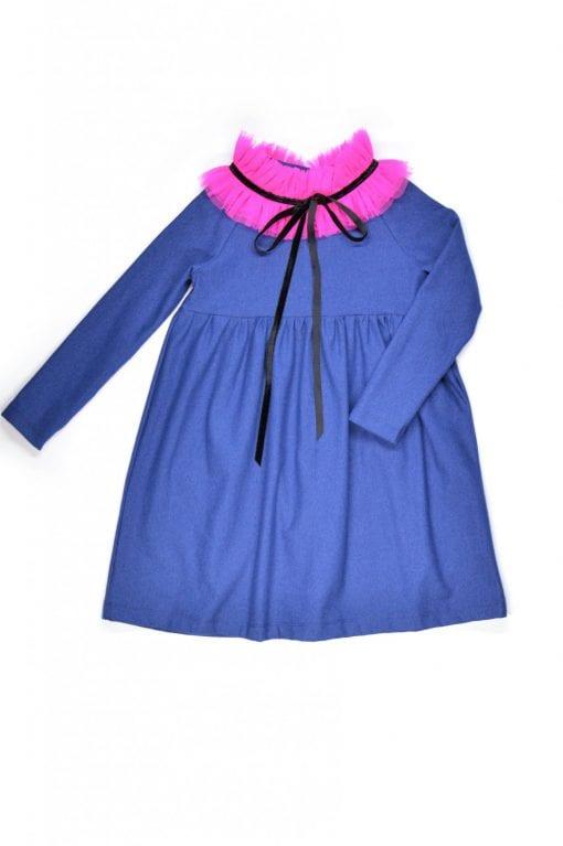 Denim jersey tulle collar dress Anna for kid, toddler, girl