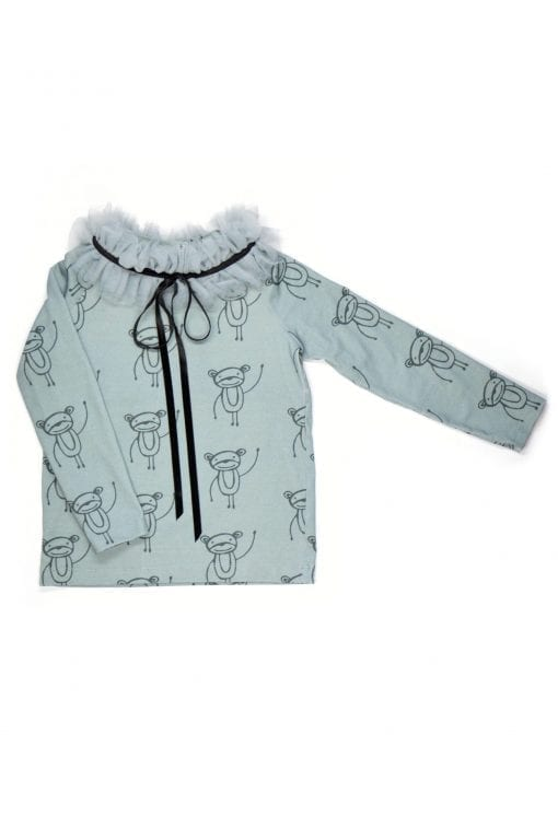 Grey monkey print Rock and Mouse kids, toddler girl outfit with tulle collar detail