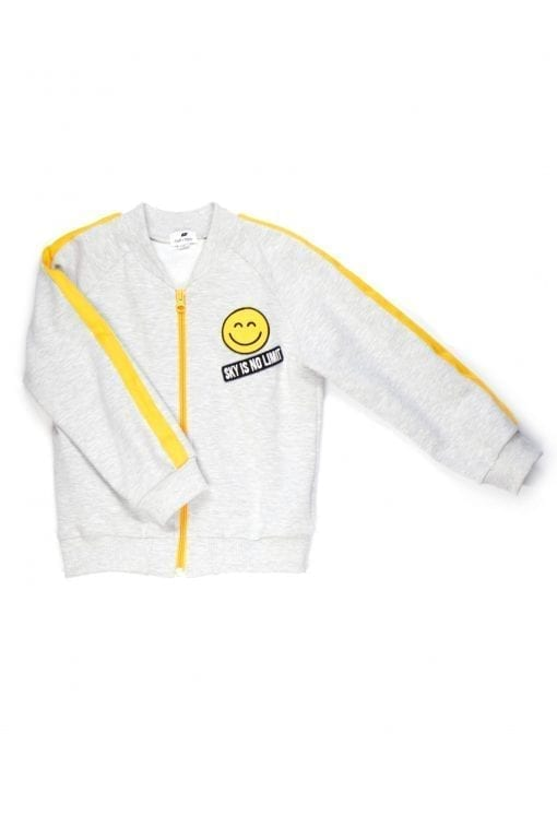 Light grey jersey unisex kids toddler jacket for girls with yellow smiley