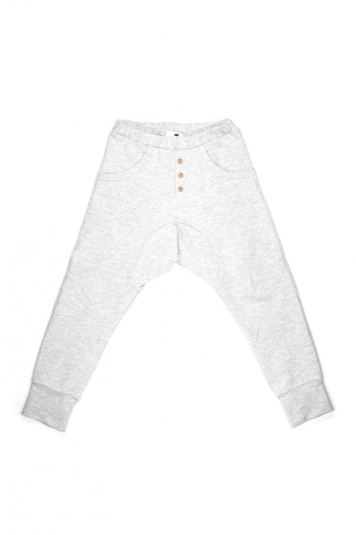 Grey unisex melange pants with buttons for kid, toddler, girl, boy, baby