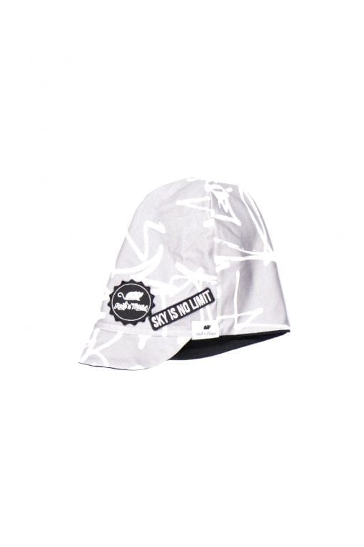 Unisex first art monochrome kids hat with Rock and Mouse logo for toddler boy or girl or baby