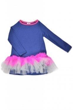 Denim jersey tutu tunic-dress for kid, toddler, girl