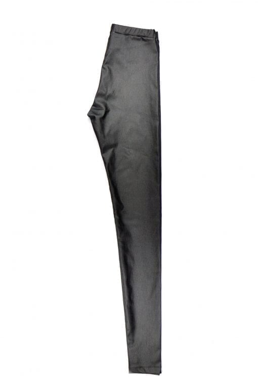 Black leather look womens mom leggings