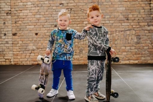 Colourful, creative, edgy, unisex toddler kid boy and girl outfit with blue expressions and first art print shirt and blue jersey pants