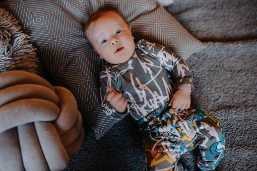 Unisex baby outfit for kid, girl, boy with first art print bodysuit and blue expressions pants with elastic waist