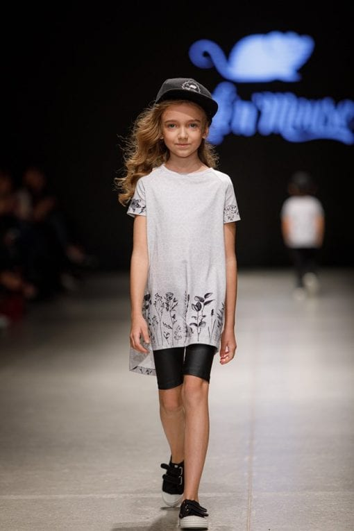 Monochrome Rock And Mouse flower t-shirt dress for kids, toddler girls