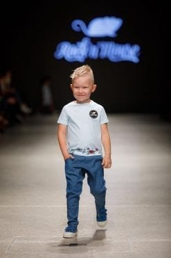 Blue denim harem pants with pockets for boys and unisex Sky Flower shirt for kids, toddler boys and girls