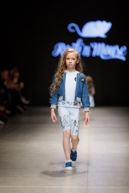 Summer outfit for kids, toddlers, boys and girls - blue denim jacket with frill details, light blue unisex T-shirt and biker shorts with colourful flowers