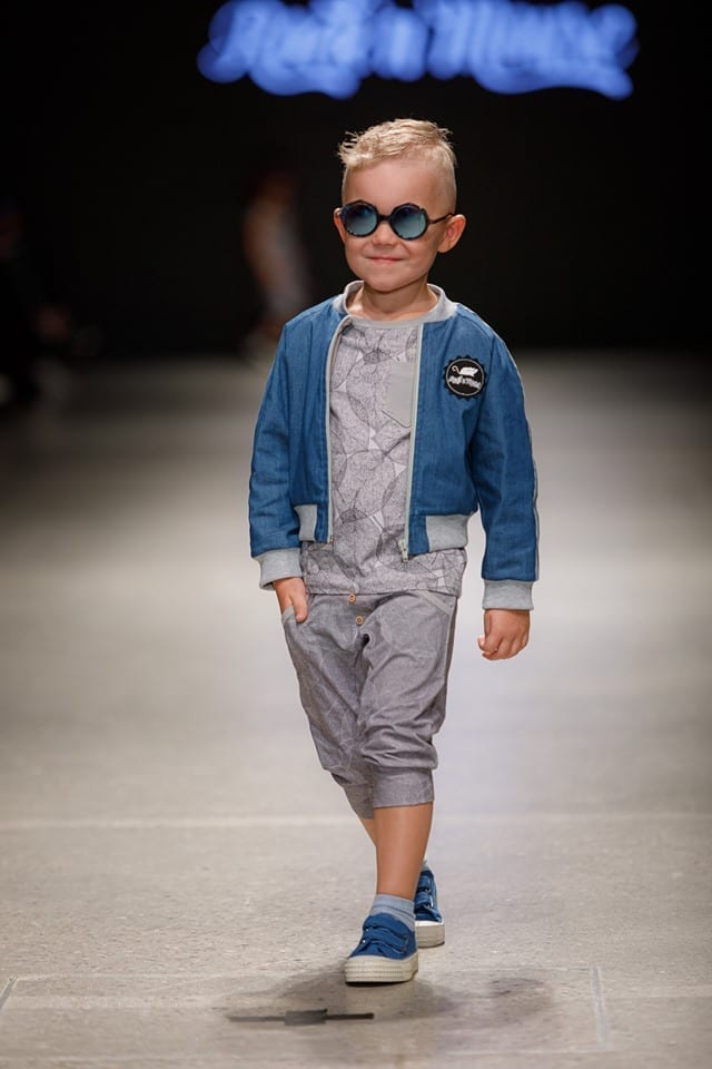 Unisex kids outfit with denim jacket, grey leaf print T-shirt and harem pants with wooden buttons, for kids, toddlers, girls and boys