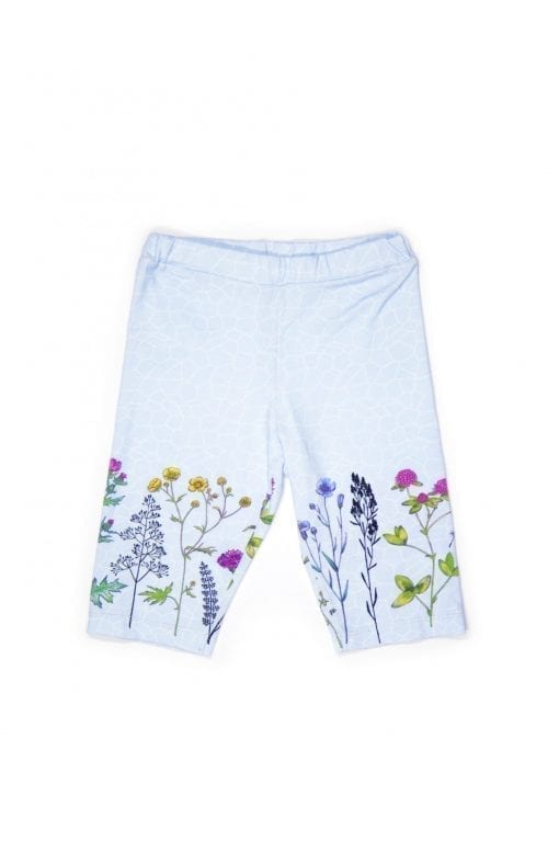Unisex, light blue, colourful sky flower biker shorts for kids, toddler, girl, boy, baby