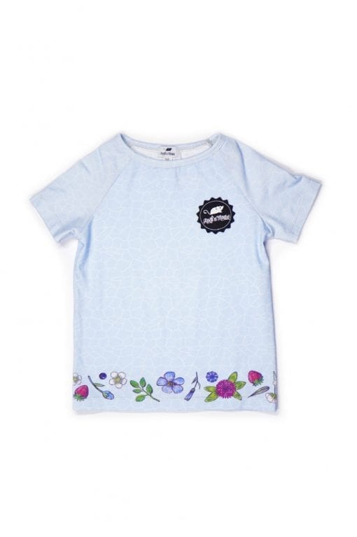 Unisex light blue T-shirt with Rock and Mouse logo badge in our colourful sky flower print for kids, baby, girl, boy, toddler