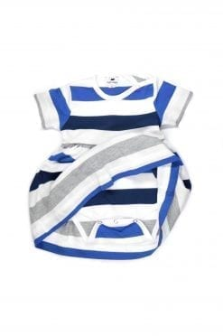 Blue striped baby bodysuit dress for girls
