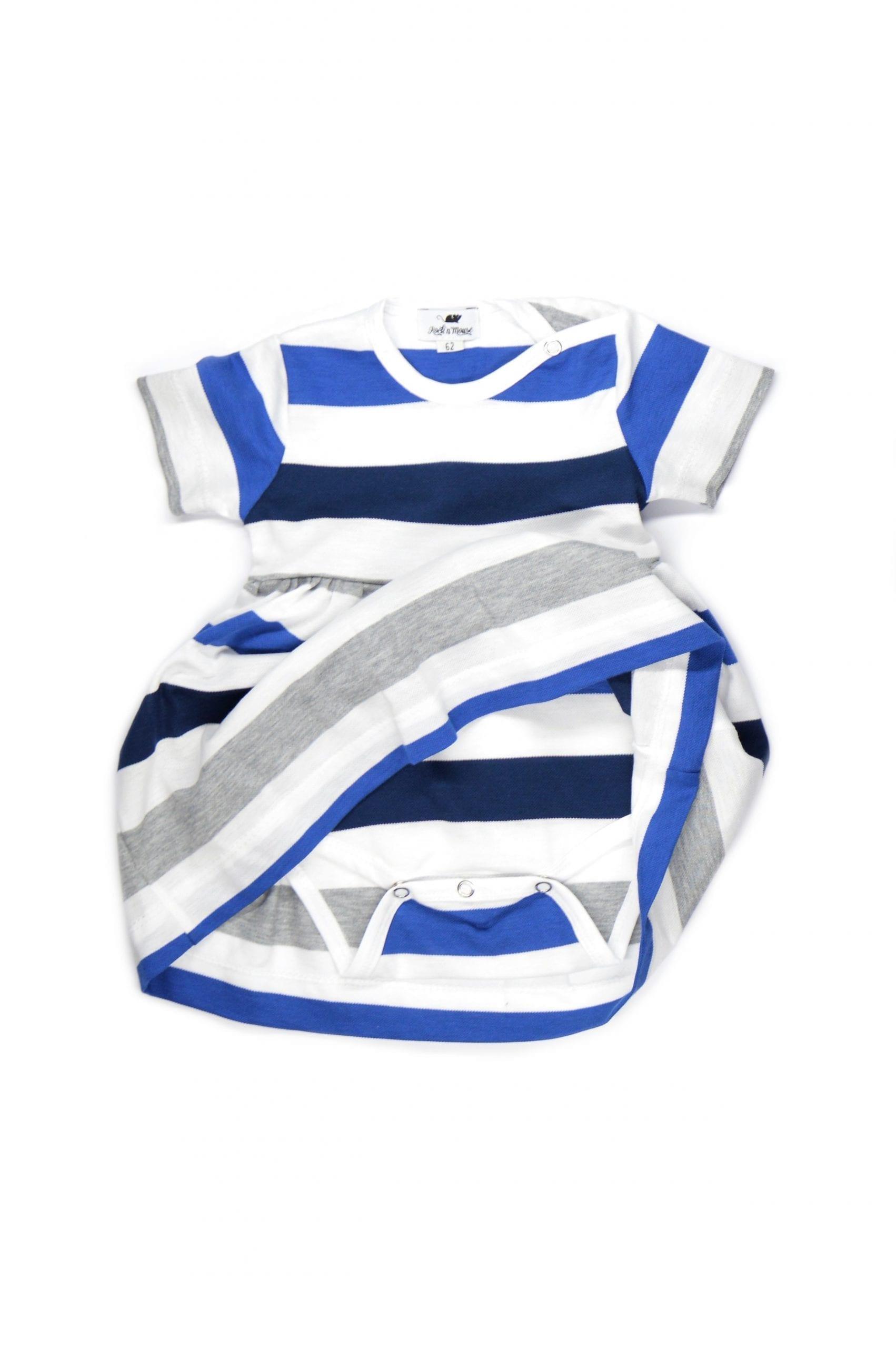 Blue striped baby bodysuit dress for girls, kids