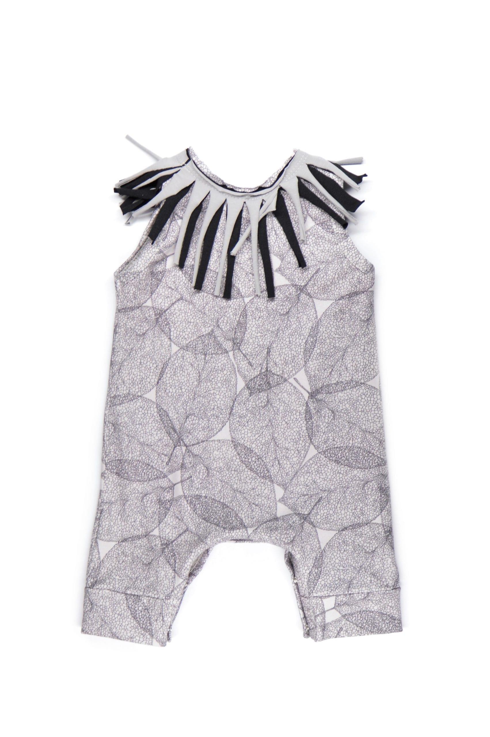 Unisex baby leaf romper with fringe for kids, toddlers, girl, boy