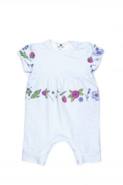 Unisex light blue baby romper with flowers for girl, boy, kid, toddler