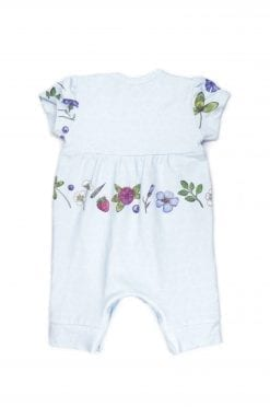Unisex light blue baby romper with floers for gil, boy, kid, toddler