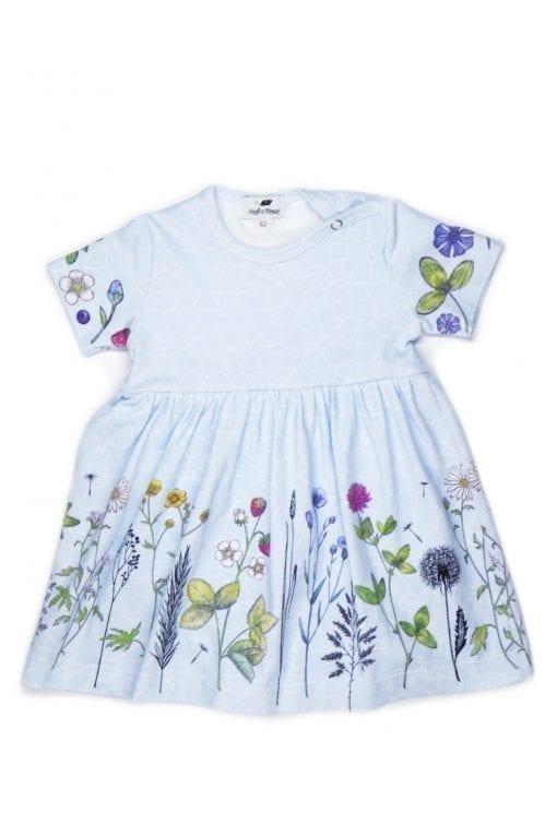Sky flower bodysuit-dress for baby girl and toddler