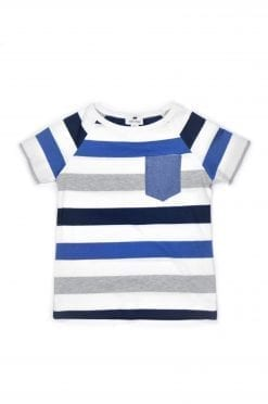 Summer outfit set with blue striped T-shirt for kids, toddler, boy.