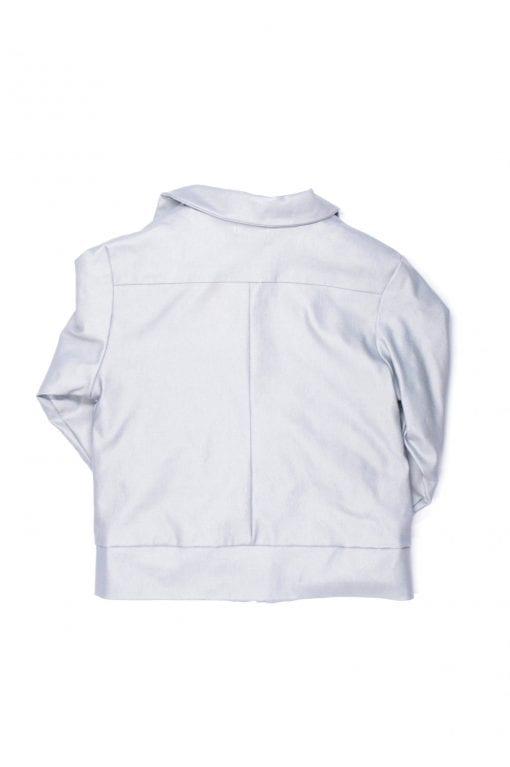 Unisex grey leather look biker jacket for kids, toddlers, girl boy