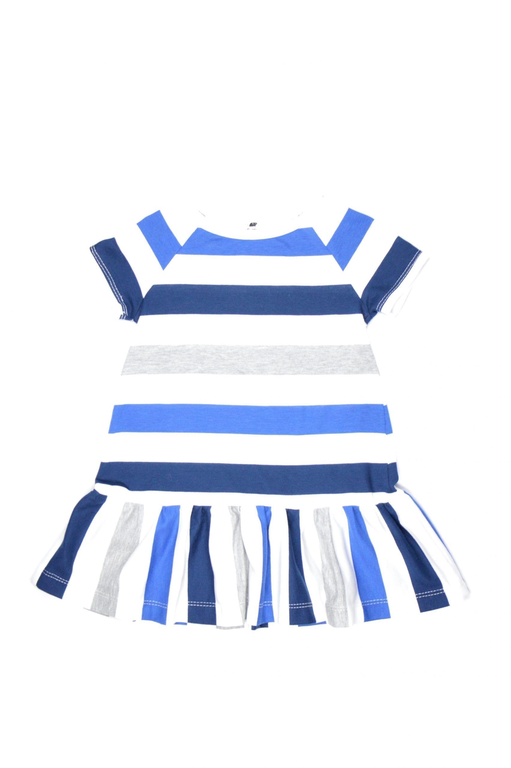 Blue stripe mini ruffle dress for kid, baby, girl, toddler