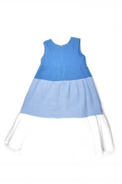 Maxi summer muslin dress with blue and white for girl, kid, toddler
