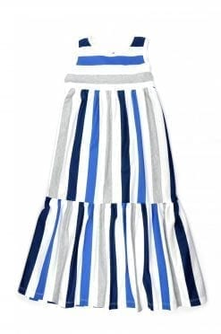 Blue stripe maxi summer dress for kid, girl, toddler