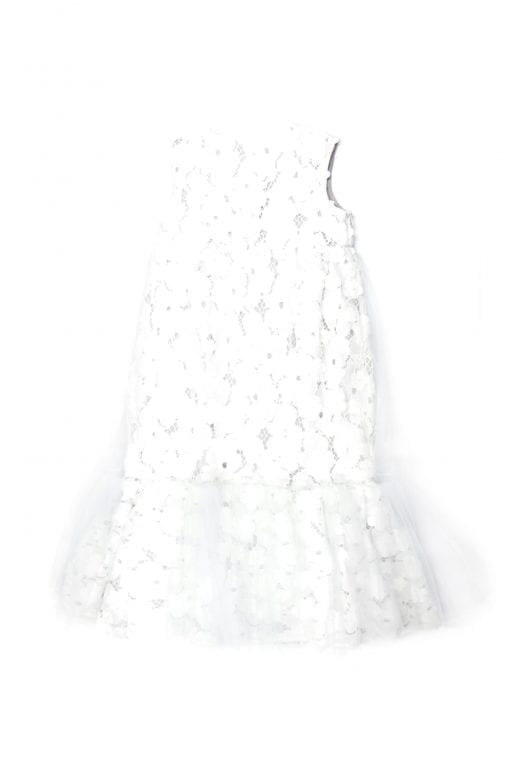 White lace kid, toddler girl midi dress with tulle