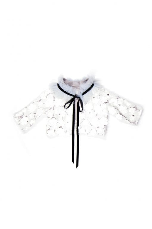 White lace jacket with tulle colar for toddler, kid, girl, baby