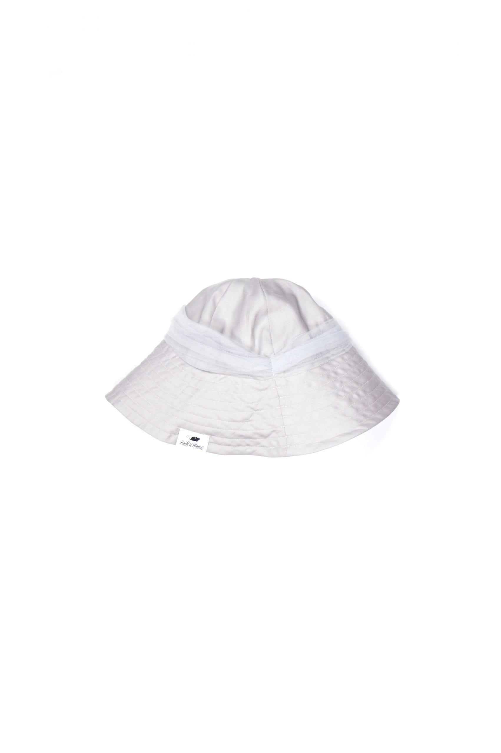 Light grey floppy summer hat with tulle bow for kids, toddler, girls