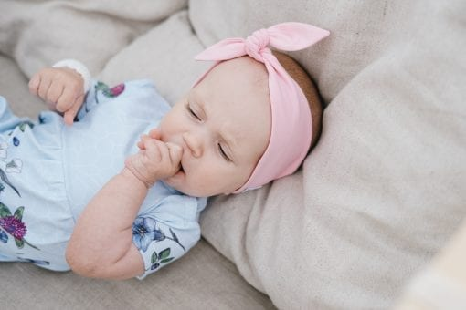 Unisex baby romper for girl, kid, boy with pink knot headband