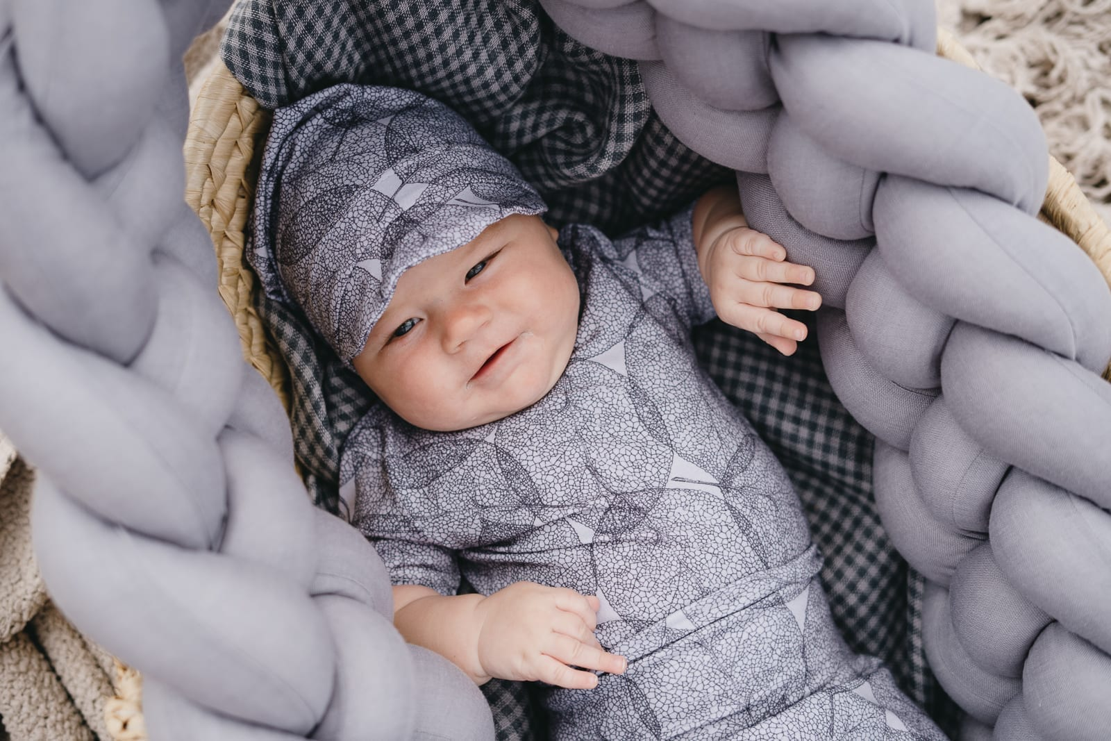 Unisex monochrome kids, baby, girl and boy outfit set with grey leaf print