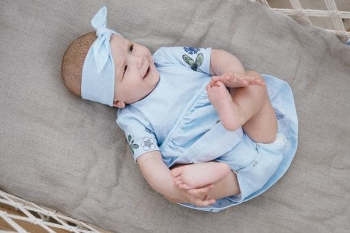 Light blue summer outfit - boysuit dress and tie knot headband for baby, girl
