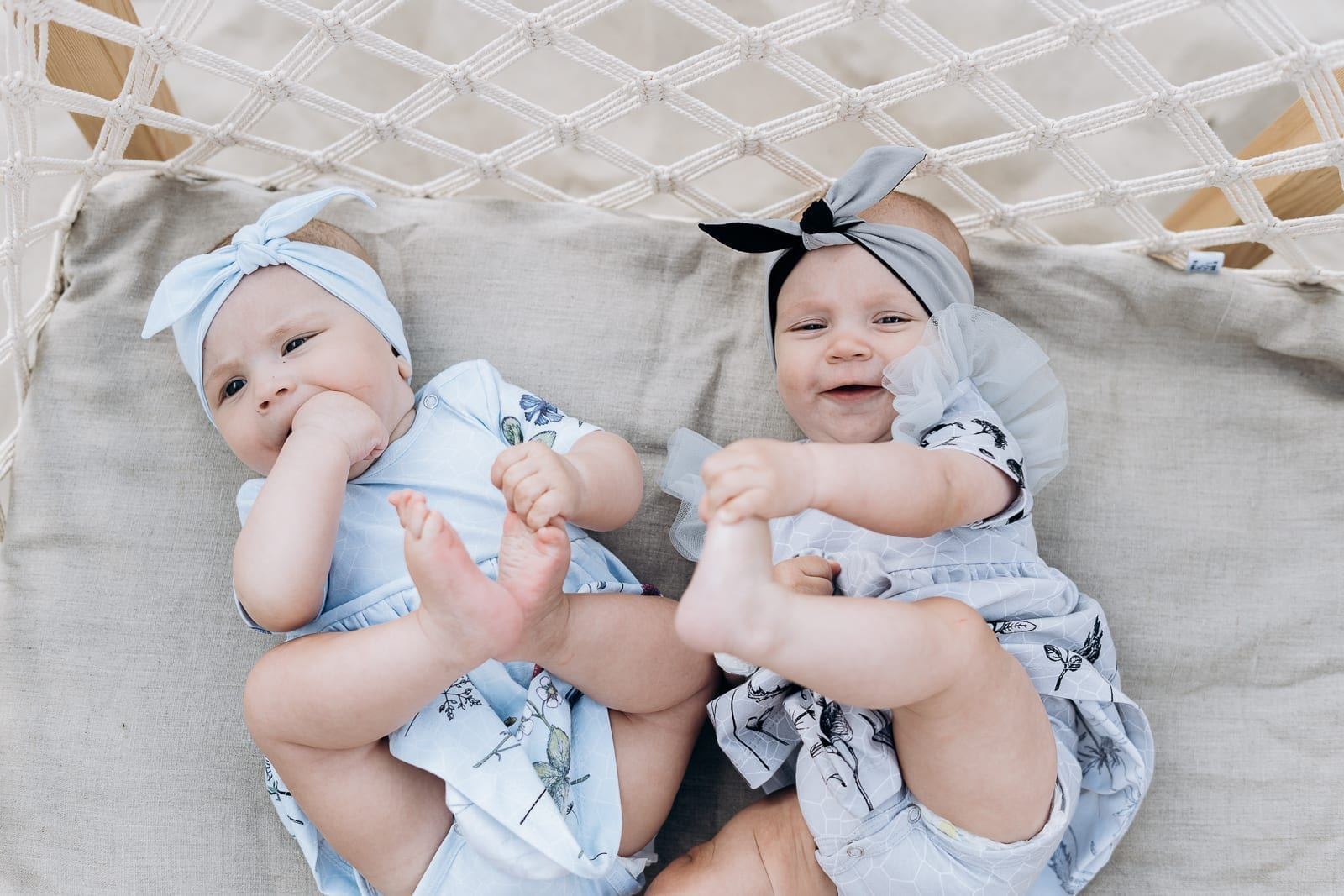 Cute baby, girl outfits for summer - bodysuit dresses with fun flower prints and tie knot headbands