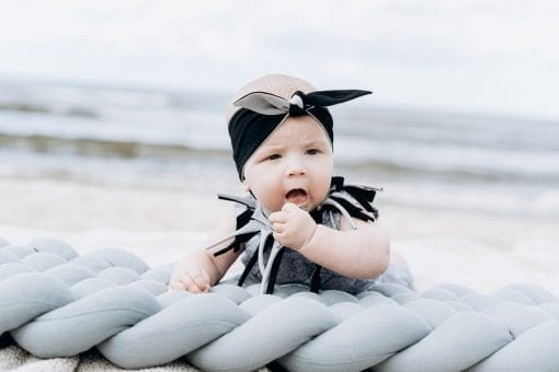 Black-grey knot headband and unisex leaf romper with fringe for kid, toddler, baby, girl, boy