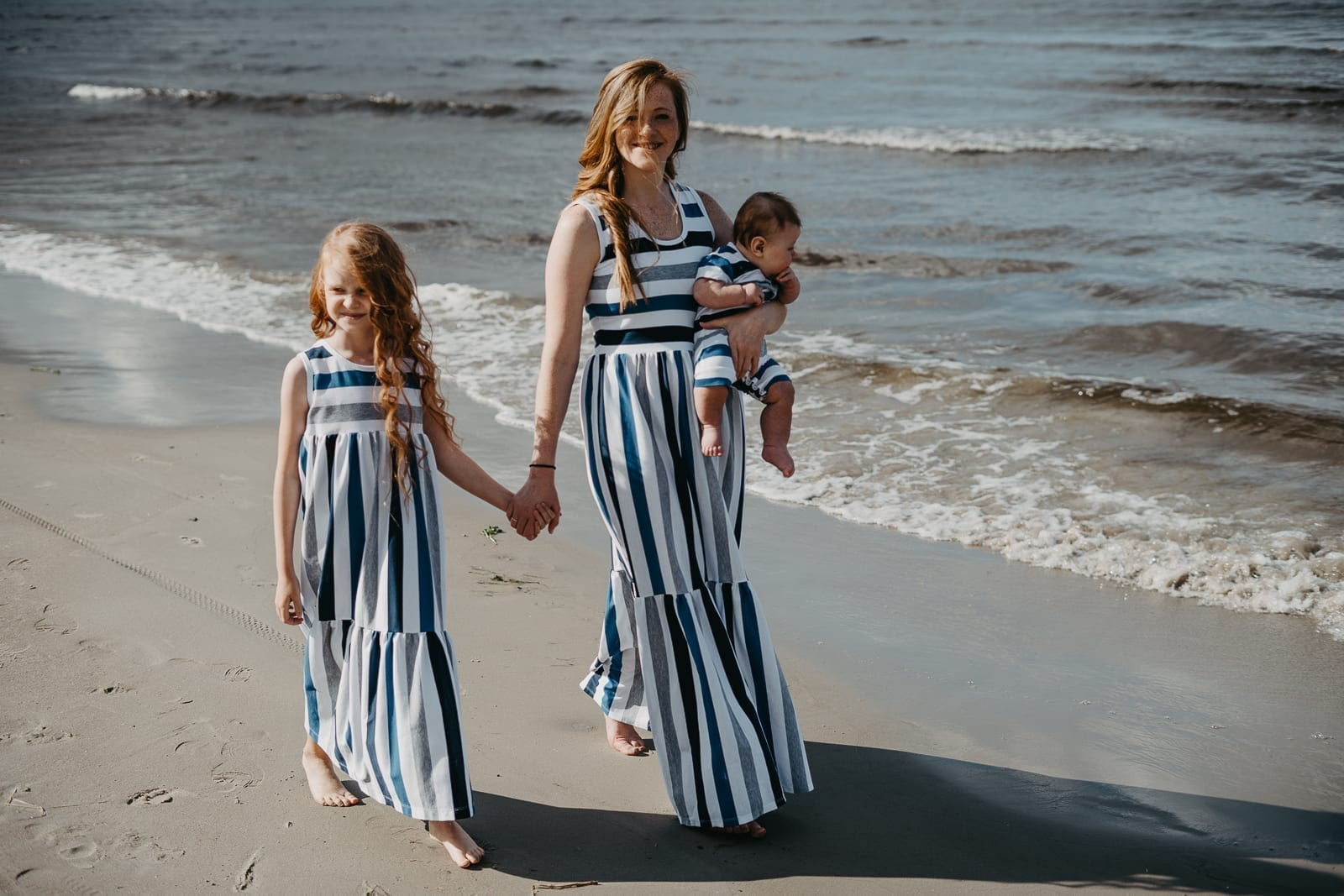 Mom, girl and baby boy summer outfits with stripes