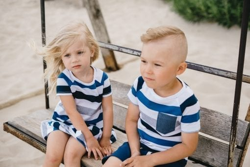 Blue striped summer outfits for kids, toddlers, babies, girls and boys