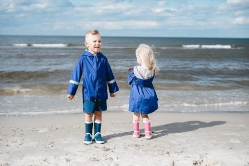 Kids toddler outfits with unisex rain coat parka and blue boy shorts, parka dress for girls
