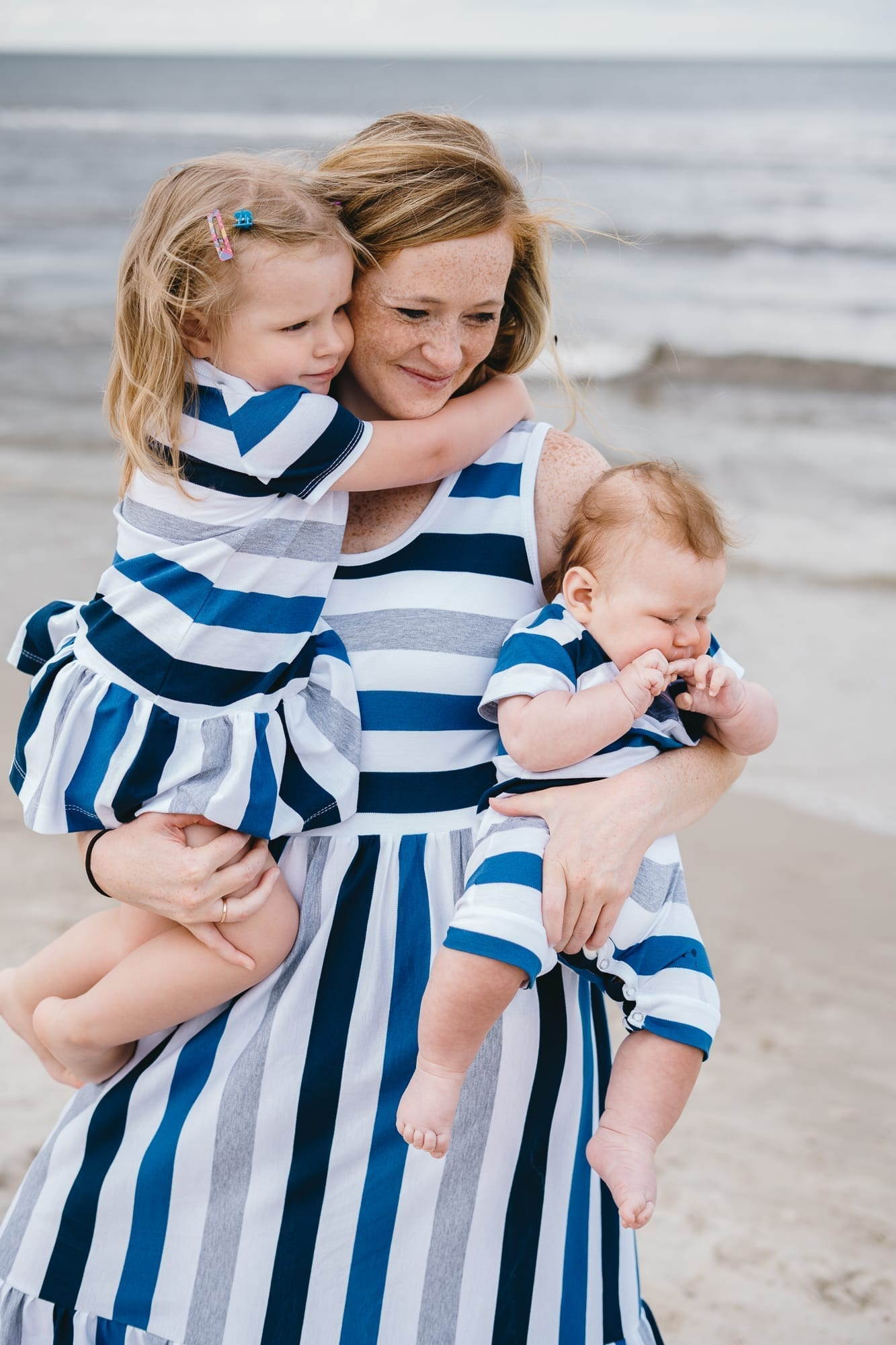 Blue striped summer outfits for girl, boy, unisex, kid, toddler, mom