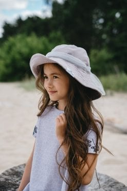 Monochrome Rock And Mouse flower t-shirt dress for kids, toddler girls and grey summer floppy hat with tulle bow
