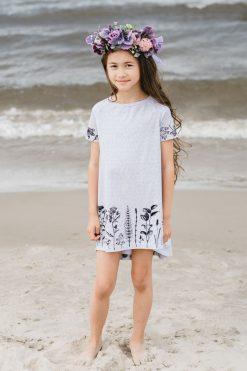 Monochrome flower T-shirt, tunic dress for kid, toddler, girl