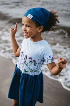 Girl summer outfit set with dress and denim headband - bandana hat for kids, toddlers