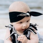 Black-grey knot headband and unisex leaf romper with fringe for kid, toddler, baby, girl, boy