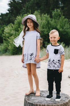 Monochrome flower T-shirt dress and unisex outfit for kids, toddler girls