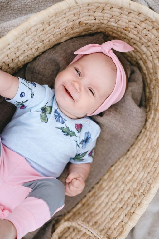 Sky flower bodysuit and pink headband