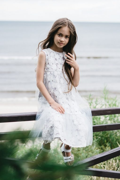White lace dress with tulle for kids, toddler, girl