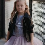 Kids', toddler girl outfit set with tulle skirt, T-shirt and leather look jacket