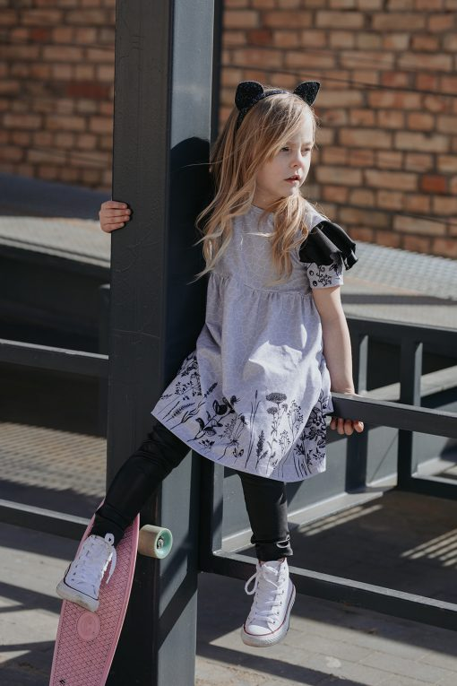 Monochrome flower dress with leather look wings for kids, toddler girls